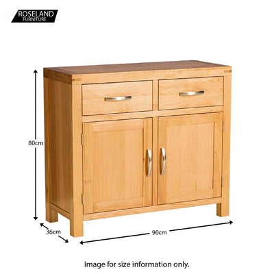 Abbey Light Oak Small Sideboard Cabinet - Size guide