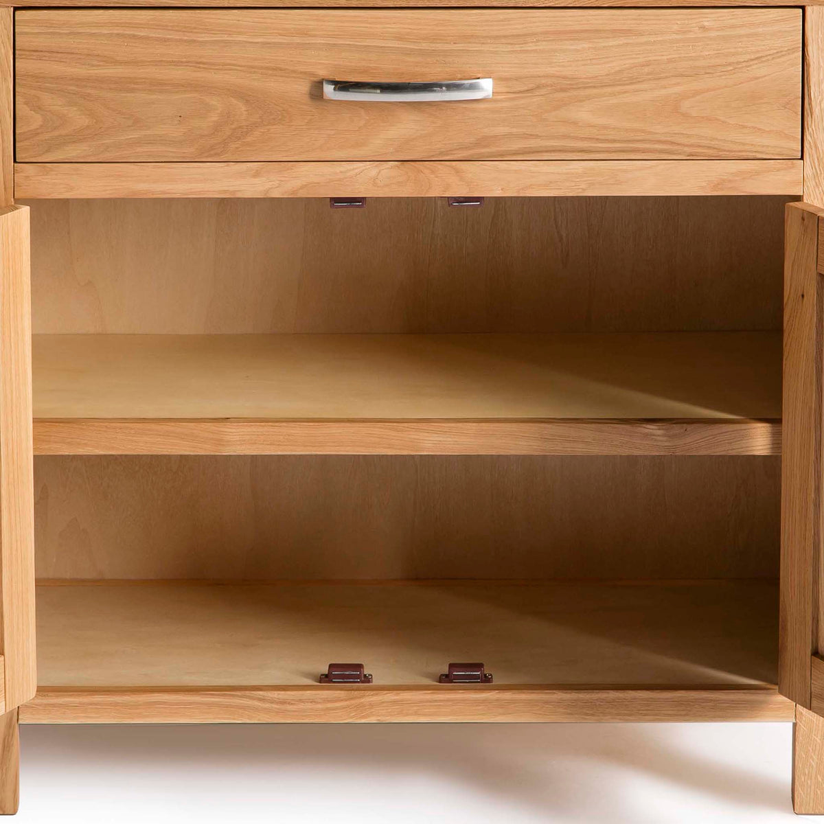 Abbey Light Oak Mini Sideboard - Close up of inside cupboards