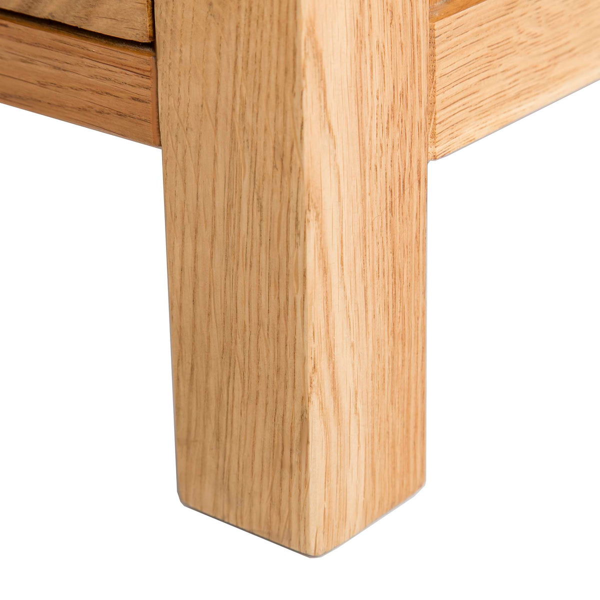 Abbey Light Oak Mini Sideboard - Close up of leg of sideboard