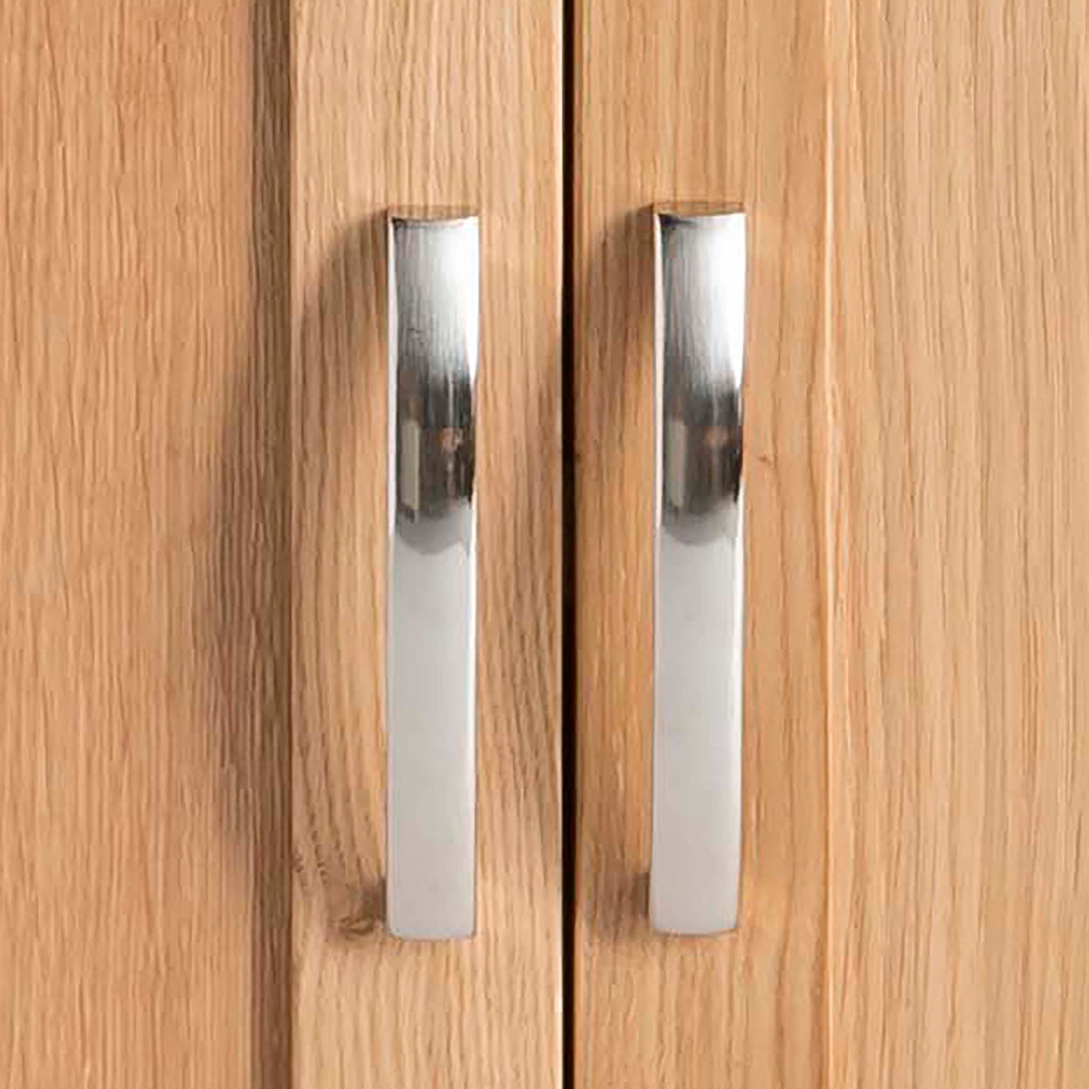 Abbey Light Oak Mini Sideboard - Close up of cupboard handles