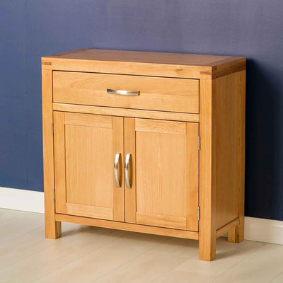 The Abbey Light Oak Mini Sideboard - Lifestyle side view