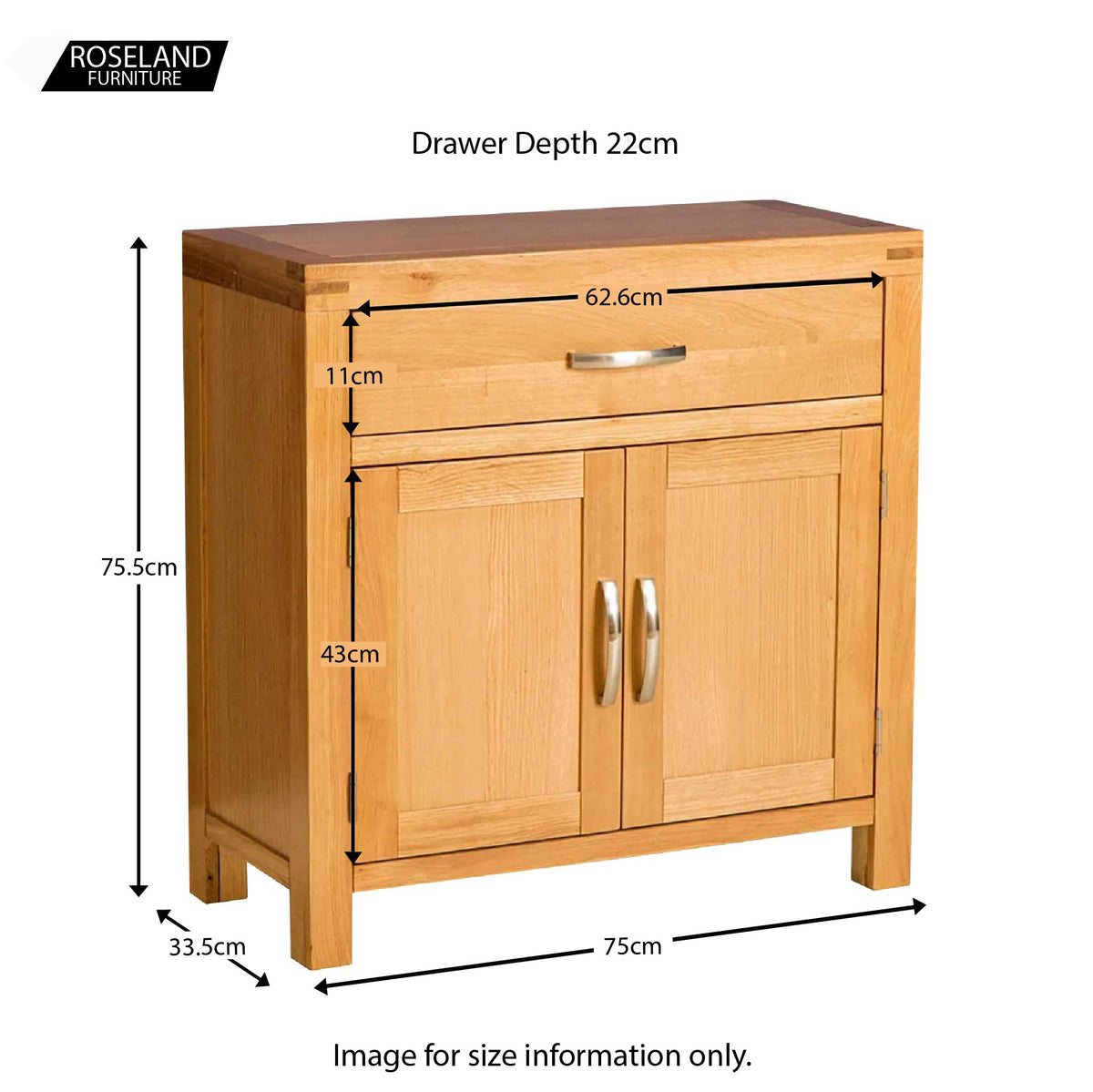Abbey Light Oak Mini Sideboard - Size guide