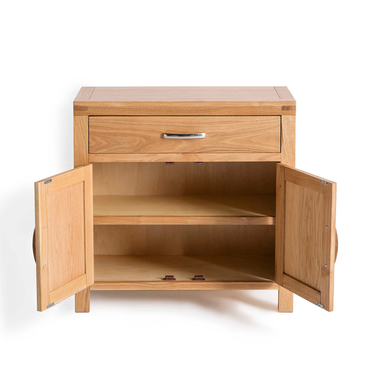 Abbey Light Oak Mini Sideboard - Front view with doors open