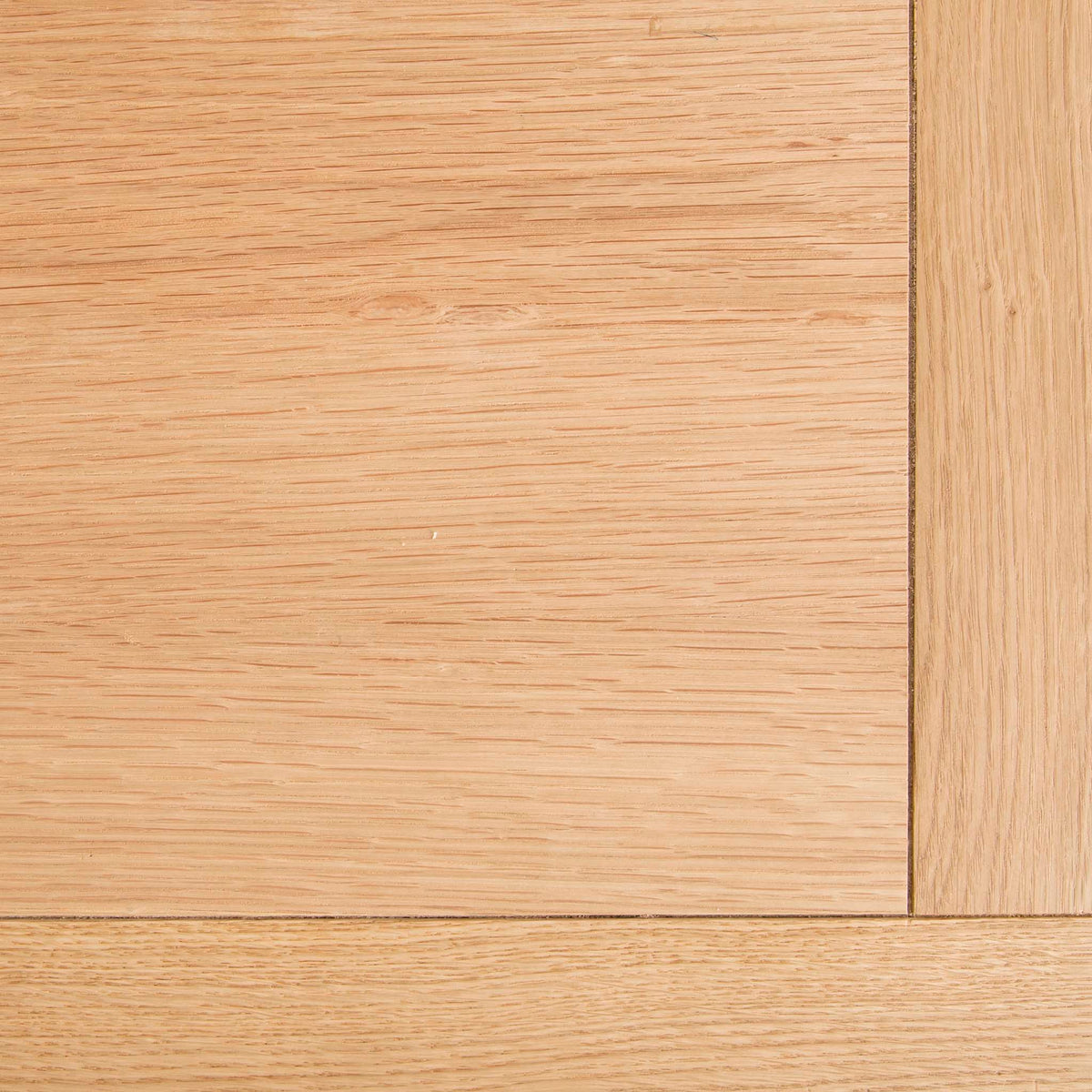 Abbey Light Oak Mini Sideboard - Close up of the top corner of sideboard