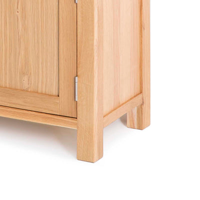 Abbey Light Oak Mini Sideboard - Close up of base of sideboard
