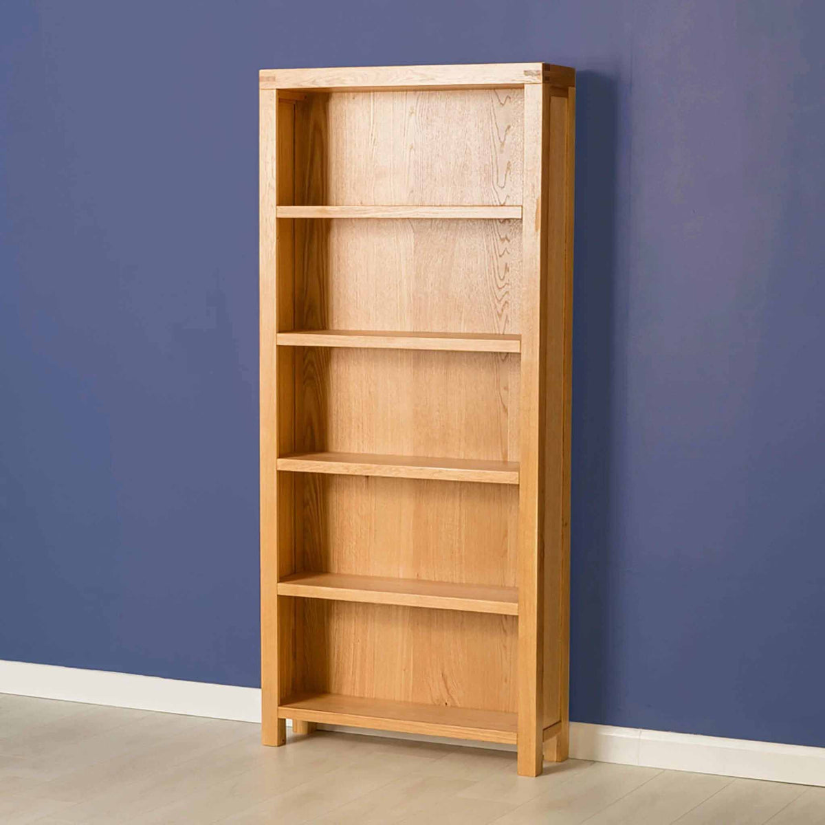 The Abbey Light Oak Large Wooden Bookcase - Lifestyle with empty bookcase