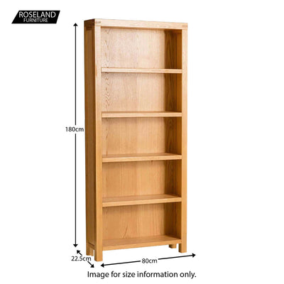 Abbey Light Oak Large Bookcase - Size guide