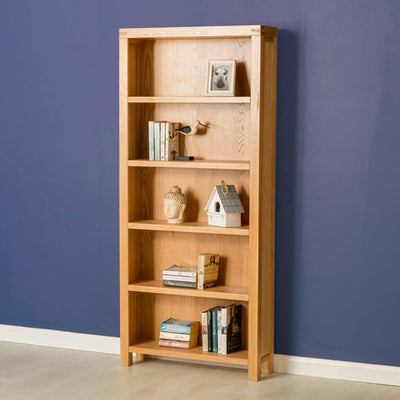 The Abbey Light Oak Tall Bookcase - Lifestyle