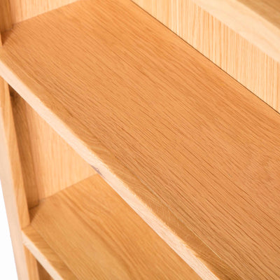 Abbey Light Oak Large Bookcase - Close up of shelves looking down on them