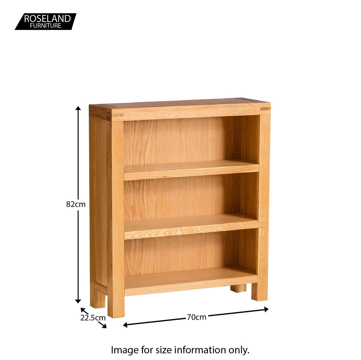 Abbey Light Oak Low Bookcase - Size guide