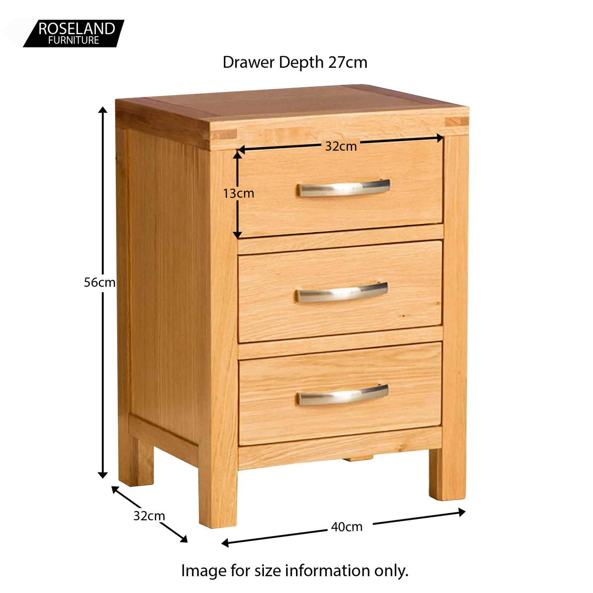 Abbey Light Oak Bedroom Set - Bedside Drawers Size Guide