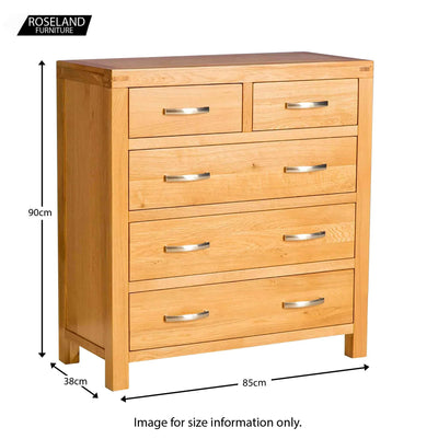 Abbey Light Oak Bedroom Set - Chest of Drawers Size Guide