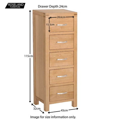 Abbey Light Oak Tallboy Chest of Drawers - Size guide