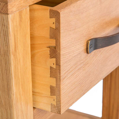 Dovetail drawer joint on The Abbey Waxed Small Side Lamp Table