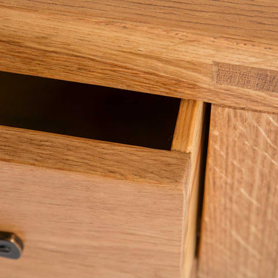 Opened drawer view of The Abbey Waxed Small Side Lamp Table