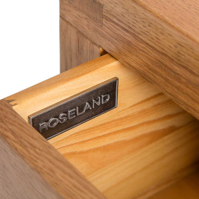 Close up of the metal Roseland label on the Abbey Waxed Small Side Lamp Table