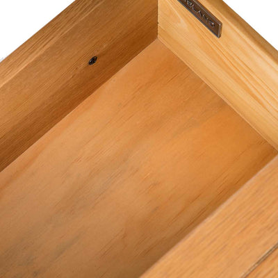 internal drawer view on the Abbey Waxed Small Side Lamp Table