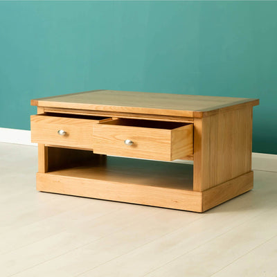 Hampshire Oak Coffee Table drawers open