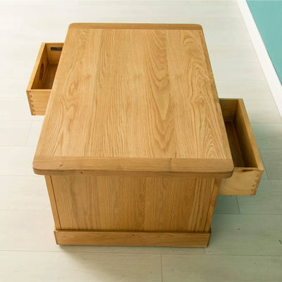 Hampshire Oak Coffee Table opposite drawers open