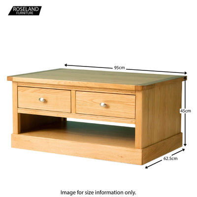 Hampshire Oak Coffee Table - Size Guide