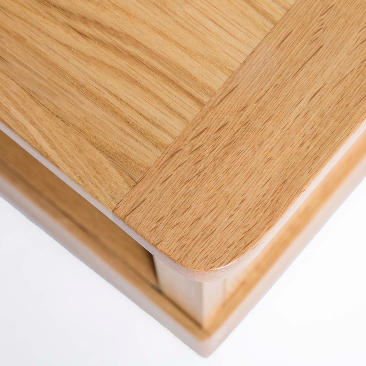 Hampshire Oak Coffee Table - Close up of corner of table top