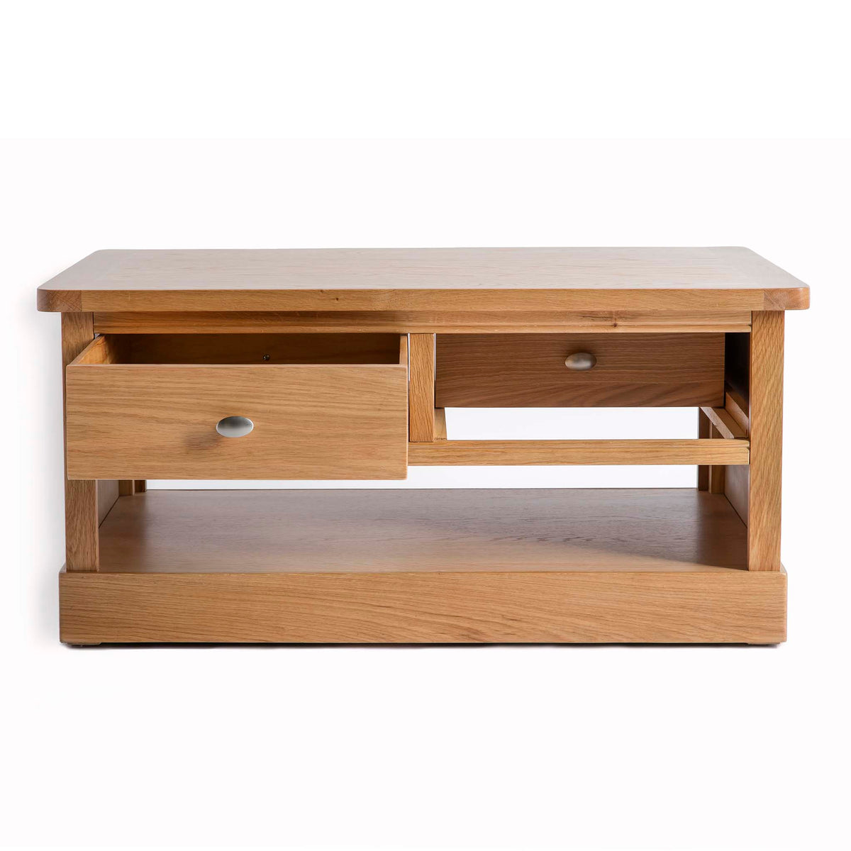 Hampshire Oak Coffee Table by Roseland Furniture - Front view with opposite drawers open