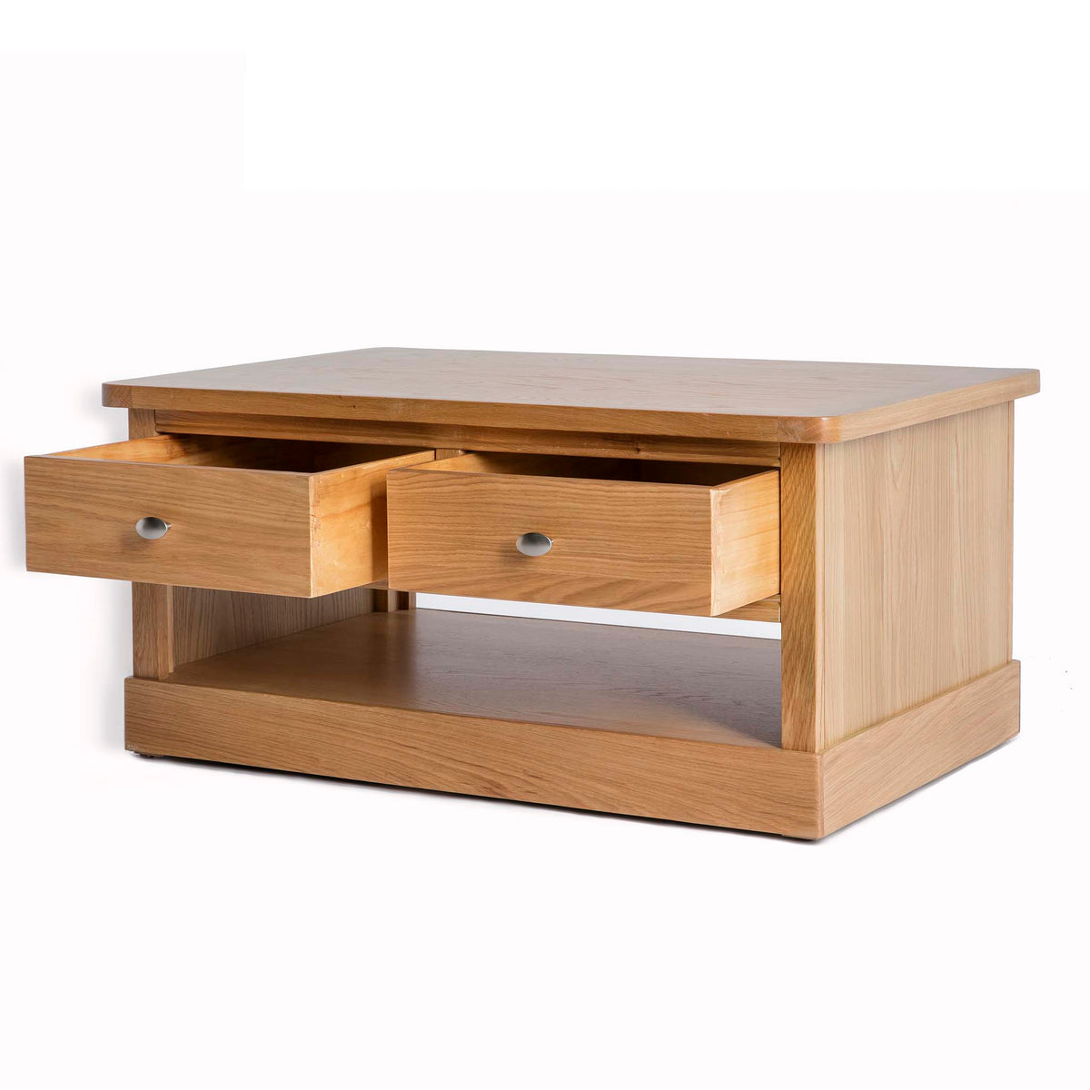 Hampshire Oak Coffee Table - Side view with both drawers open