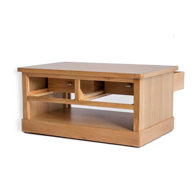 Hampshire Oak Coffee Table - Side view with both drawers open at the back