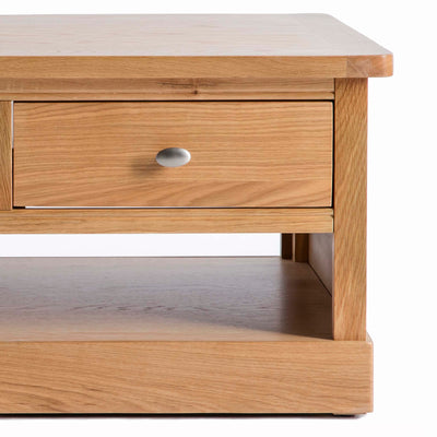 Hampshire Oak Coffee Table - Close up of front of drawer