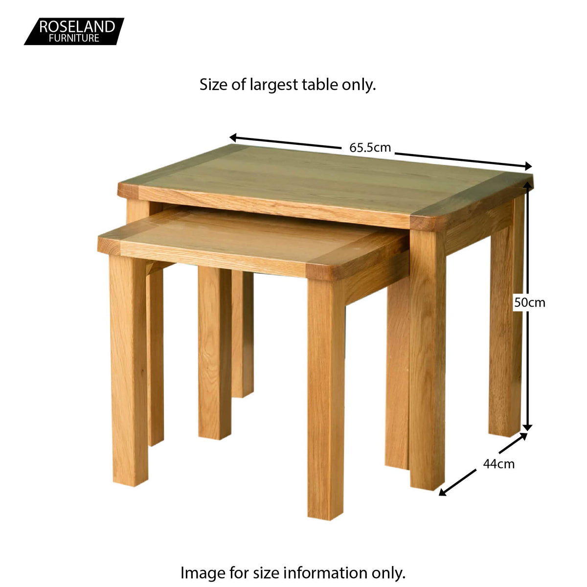 Hampshire Oak Nest of Tables - Size Guide
