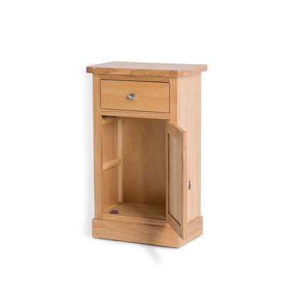 Hampshire Oak Telephone Table cupboard Unit top front view