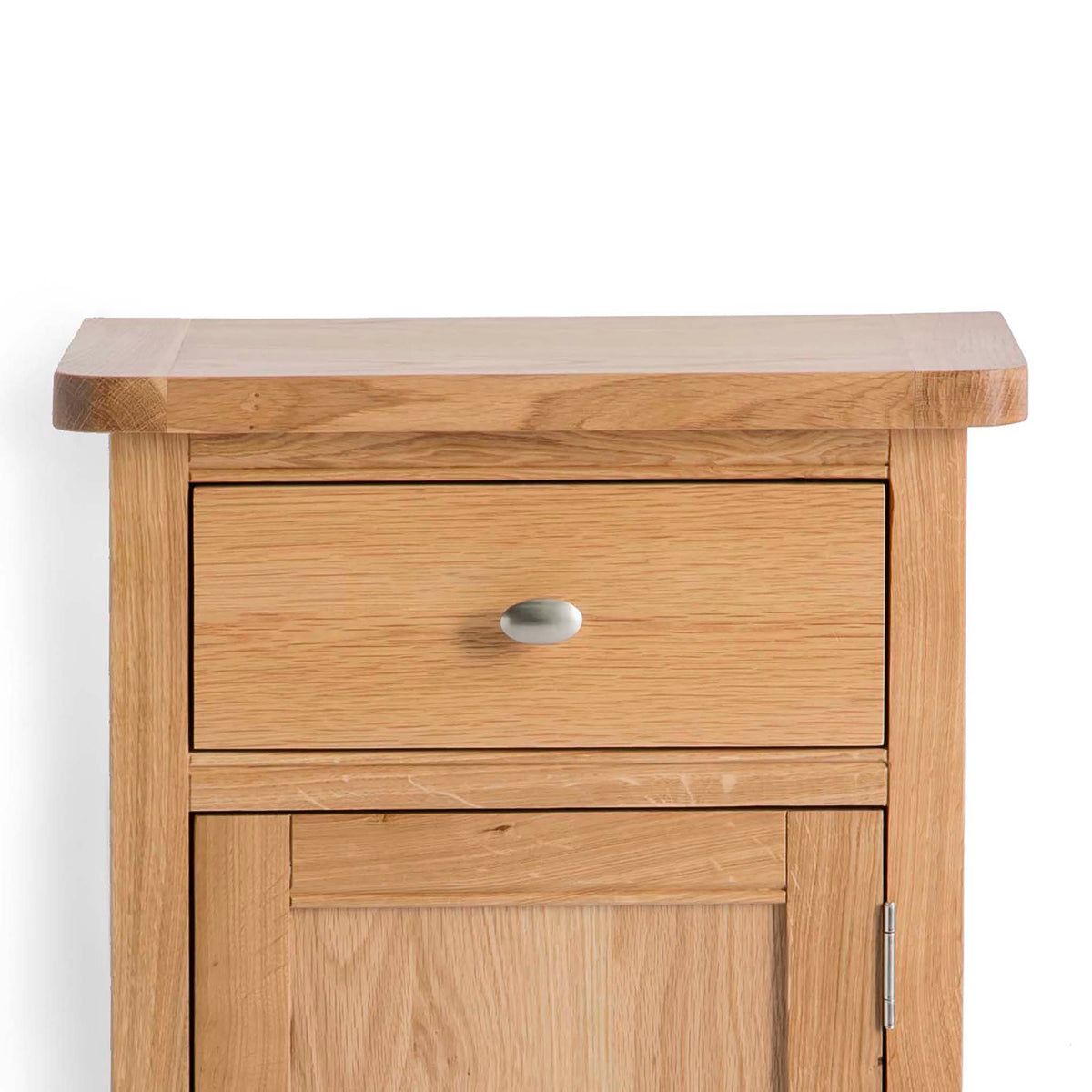 Hampshire Oak Telephone Table cupboard Unit top side corner view