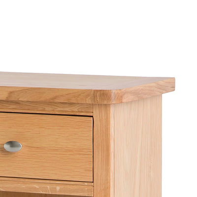 Hampshire Oak Telephone Table cupboard Unit bottom corner view