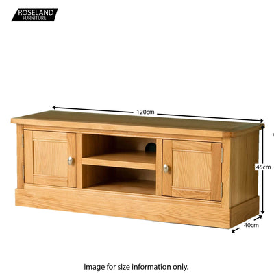 Hampshire Oak 120 cm TV Stand - Size Guide