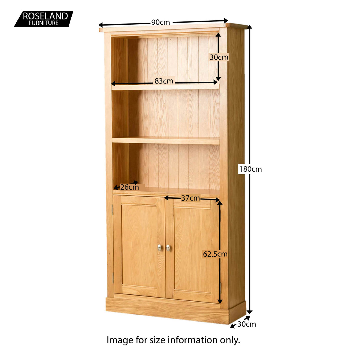 Hampshire Oak Open Display Cabinet - Size Guide