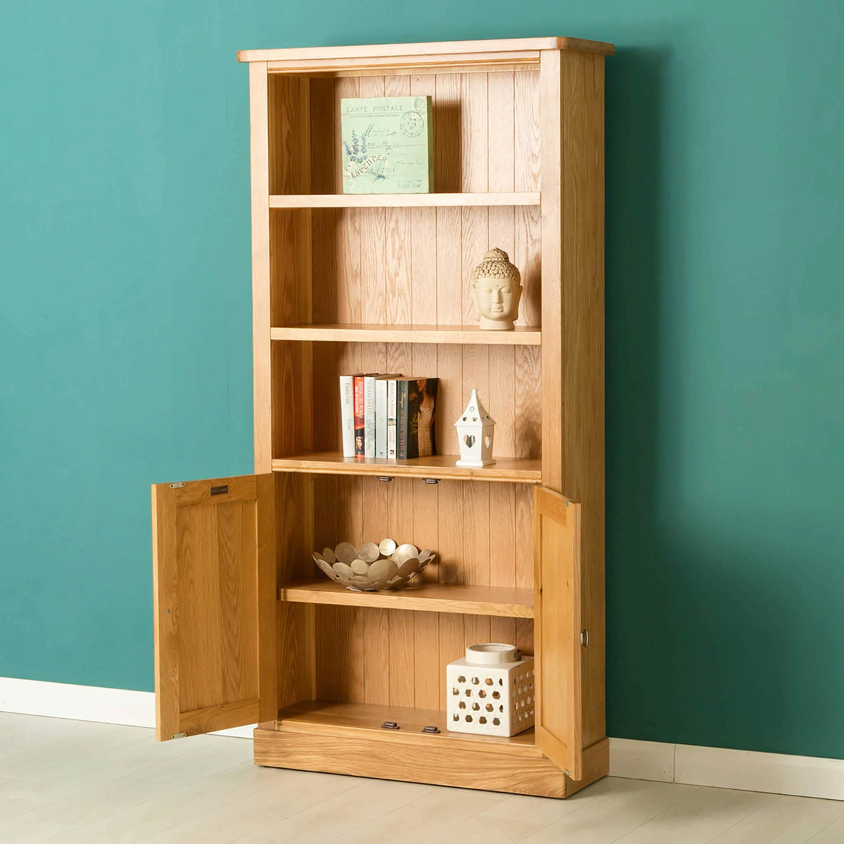 Hampshire Oak Open Display Cabinet with doors open