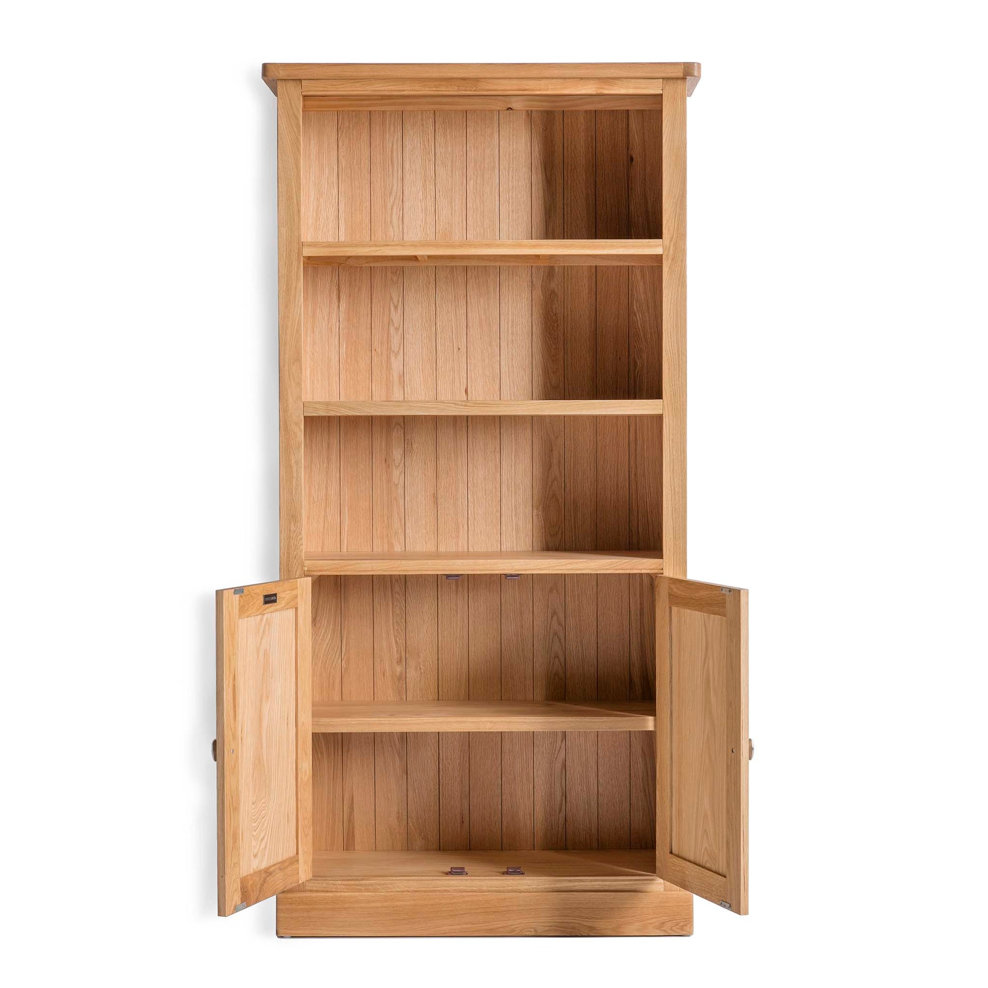 Hampshire Light Oak Display Cabinet Tall Bookcase With Cupboard Roseland Furniture