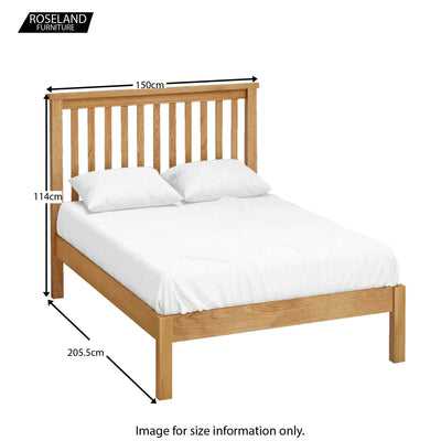 Hampshire Oak 4'6 Double Bed Frame - Size Guide