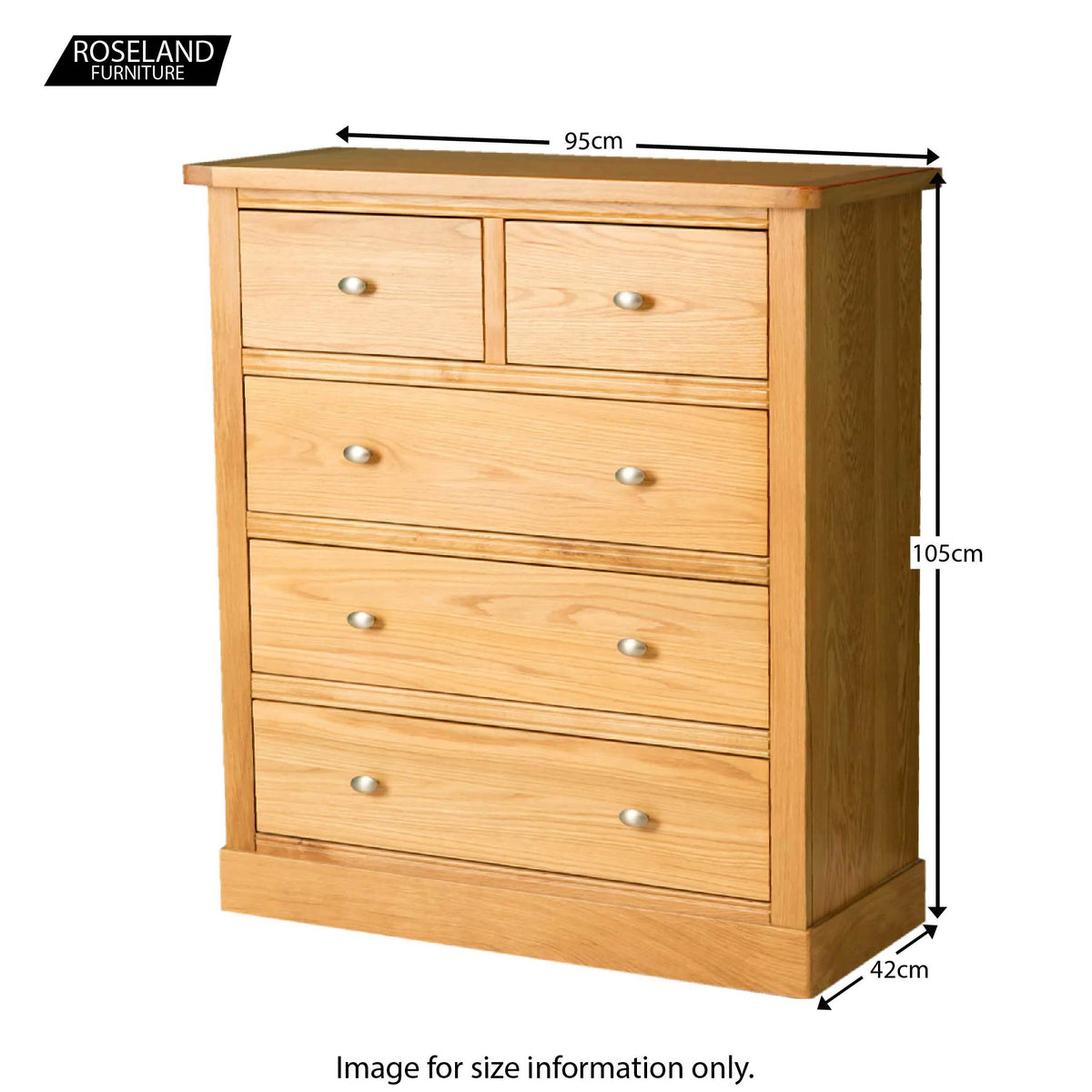 Hampshire Oak 2 over 3 Drawer Chest - Size Guide