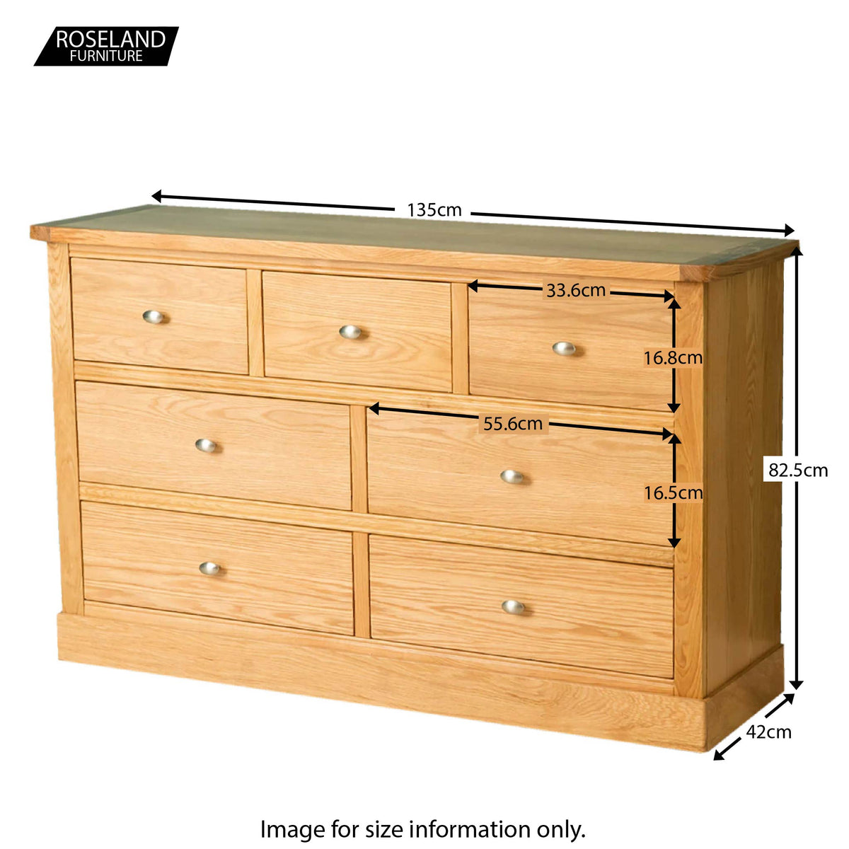 Hampshire Oak 3 over 4 Chest of Drawers - Size Guide