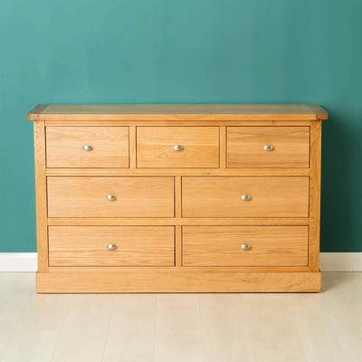 Hampshire Oak 3 over 4 Drawer Chest / Unit front view