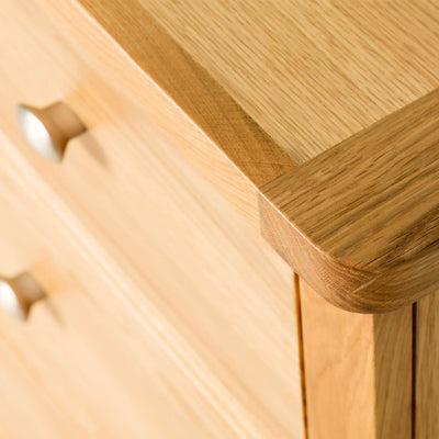Hampshire Oak 3 over 4 Drawer Chest / Unit top front corner view