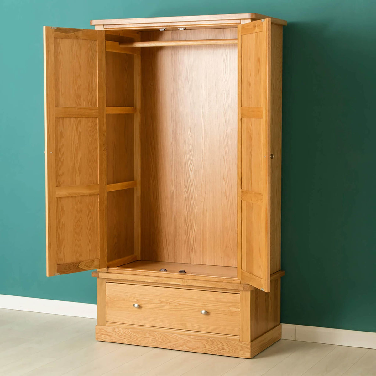 Hampshire Oak Double Wardrobe with Drawer - Lifestyle side view