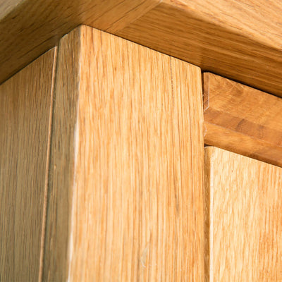 Hampshire Oak Double Wardrobe top front corner view
