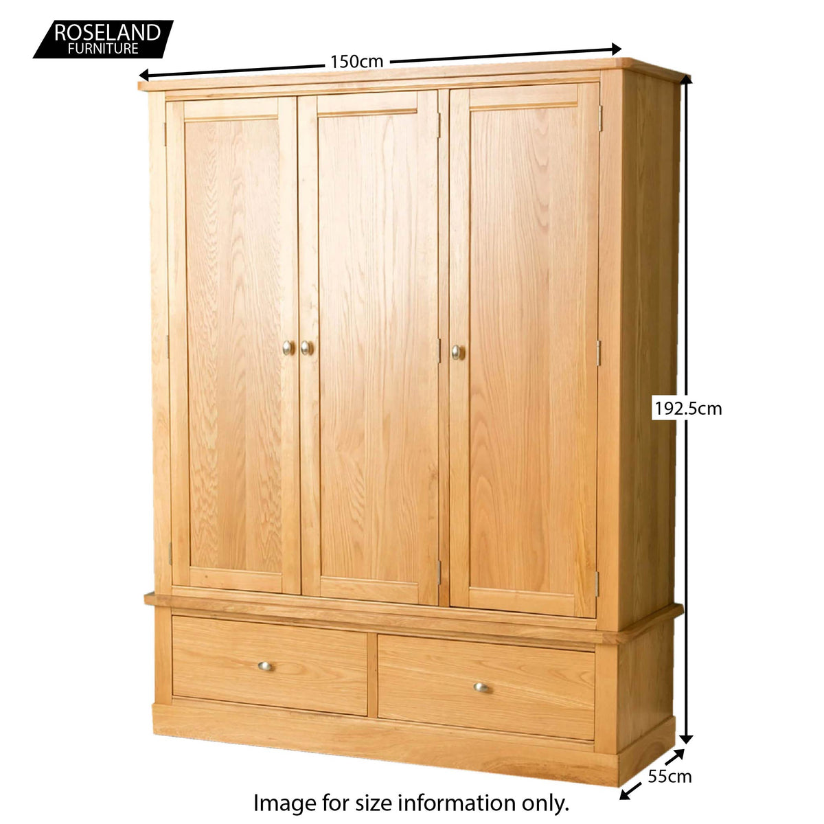 Hampshire Oak Triple Wardrobe - Size Guide