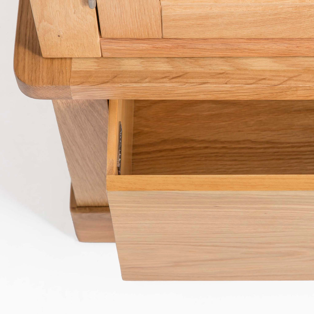 Hampshire Oak Triple Wardrobe with Drawers - Close up of lower drawer when open
