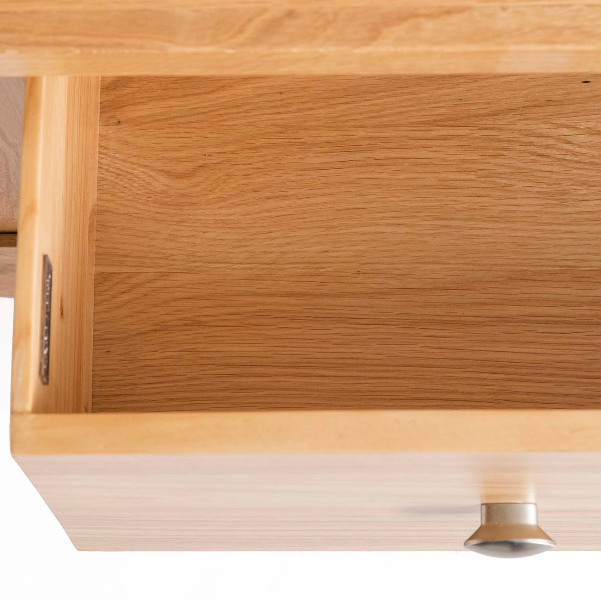 Hampshire Oak Triple Wardrobe with Drawers - Close up of inside lower drawer