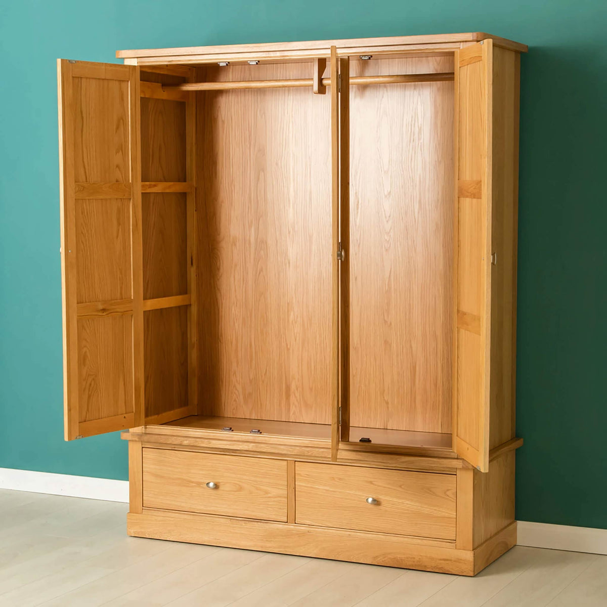 Hampshire Oak Triple Wardrobe - Lifestyle with doors open