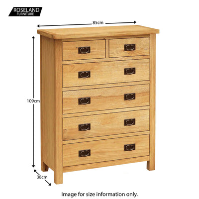Surrey Oak 3 piece bedroom set -  Chest of Drawers Size Guide