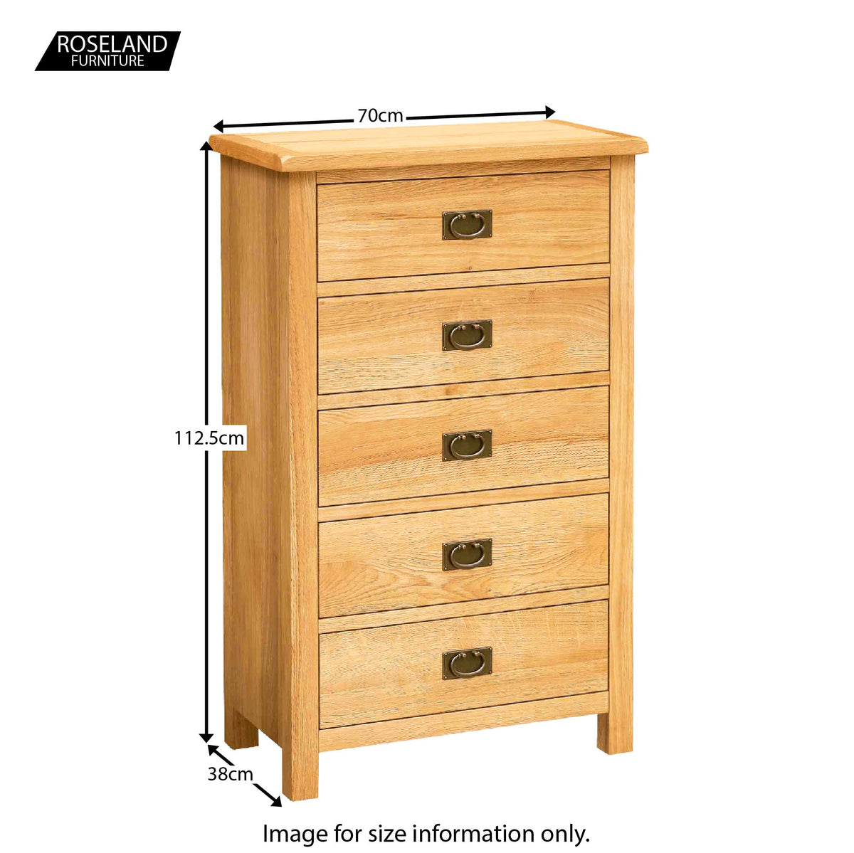 Surrey Oak waxed 5 drawer wide chest - Size Guide